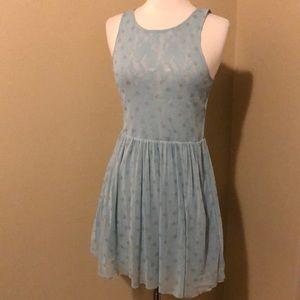 Free People Blue Silver Polka Dot Lace Dress Sz XS